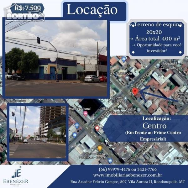 Terreno para locação no CENTRO em Rondonópolis/MT